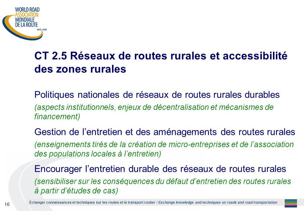CT 2.5 Réseaux de routes rurales et accessibilité des zones rurales