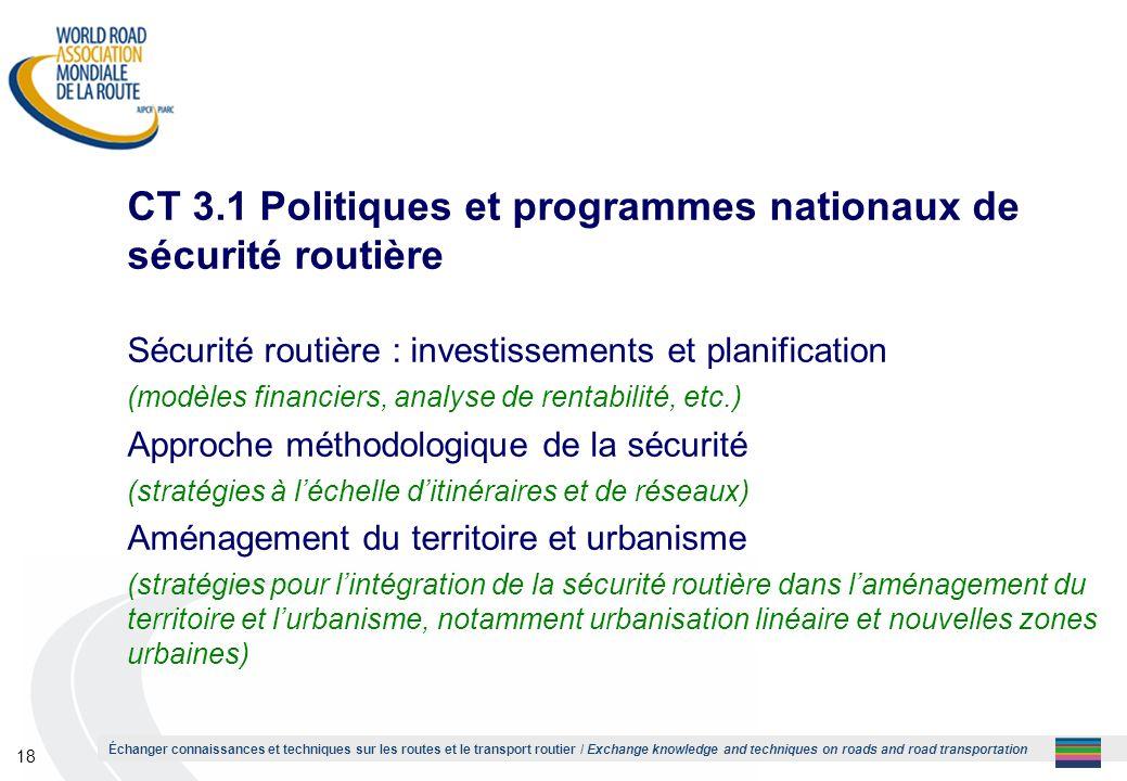 CT 3.1 Politiques et programmes nationaux de sécurité routière