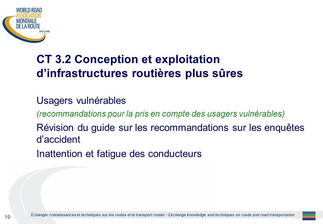 1 CT 3.2 Conception et exploitation d'infrastructures routières plus sûres. Usagers vulnérables.