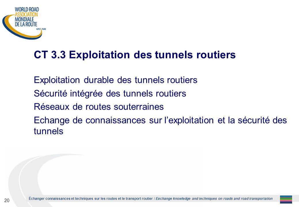 CT 3.3 Exploitation des tunnels routiers
