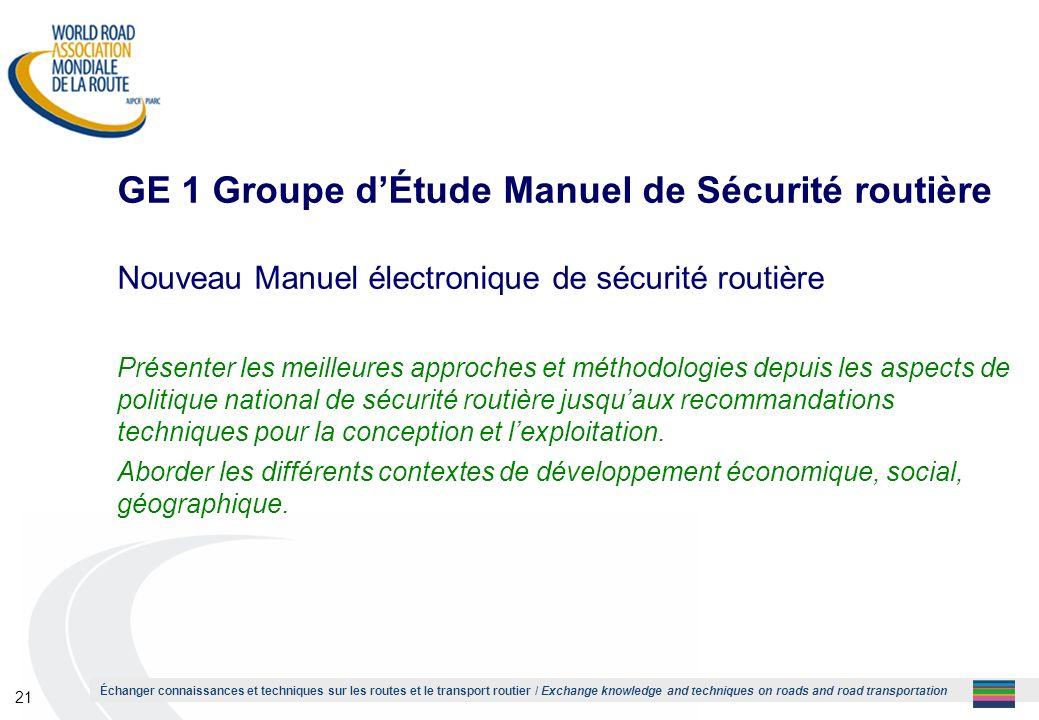 GE 1 Groupe d'Étude Manuel de Sécurité routière
