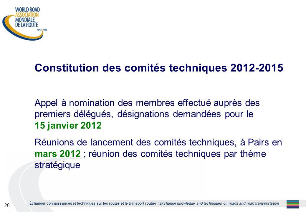 Constitution des comités techniques 2012-2015