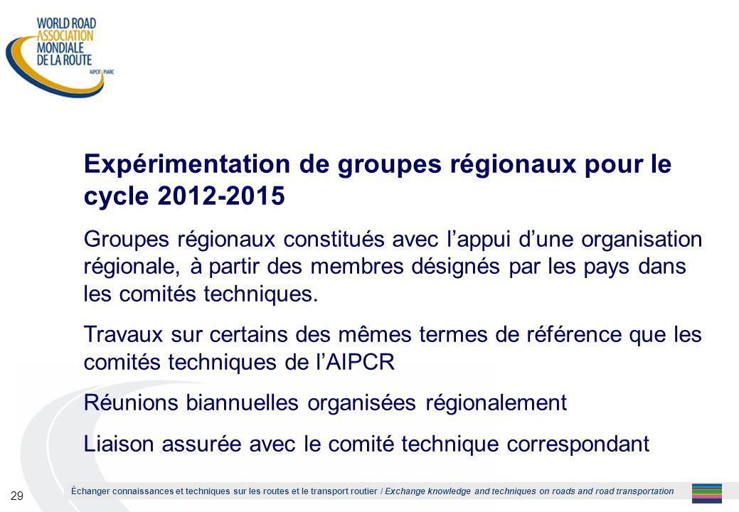 Expérimentation de groupes régionaux pour le cycle 2012-2015