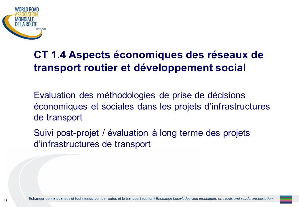 1 CT 1.4 Aspects économiques des réseaux de transport routier et développement social.