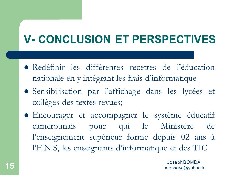 V- CONCLUSION ET PERSPECTIVES
