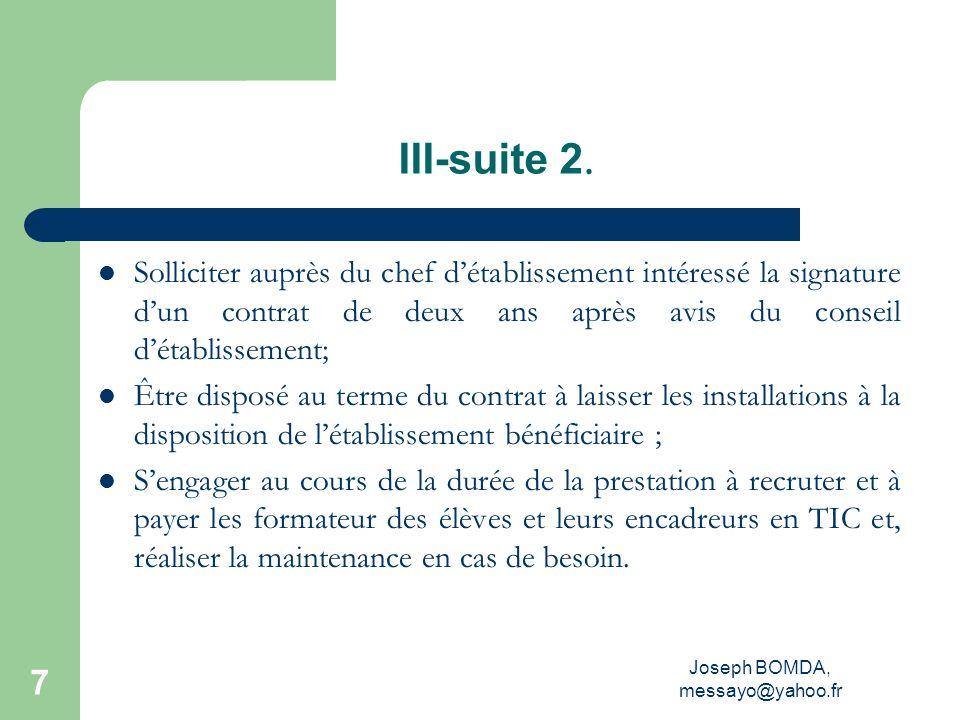 Joseph BOMDA, messayo@yahoo.fr