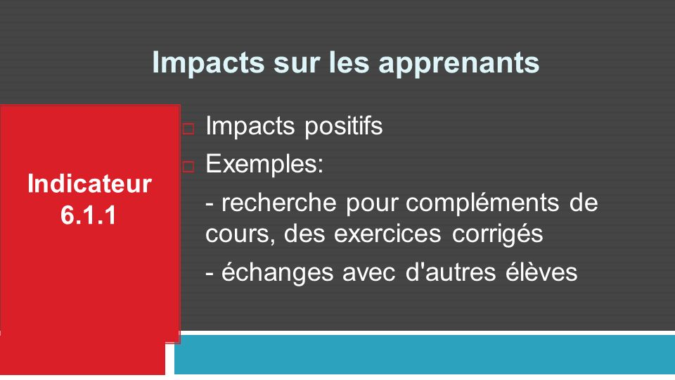 Impacts sur les apprenants