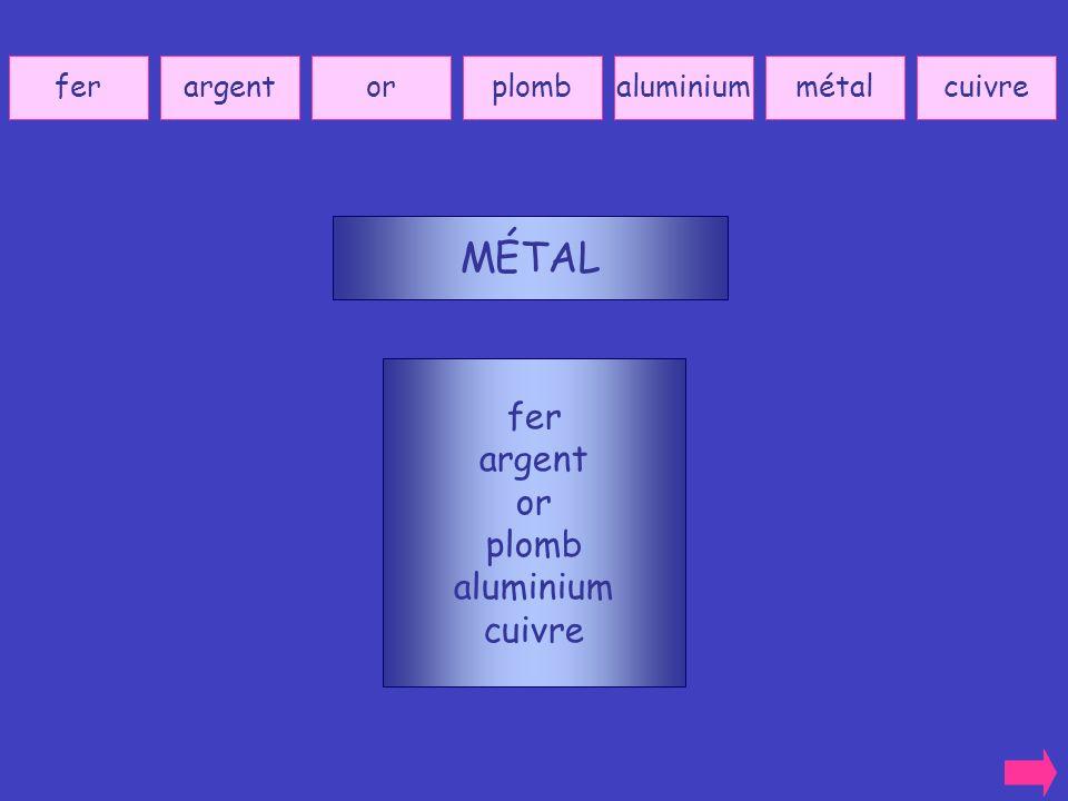 MÉTAL fer argent or plomb aluminium cuivre fer argent or plomb