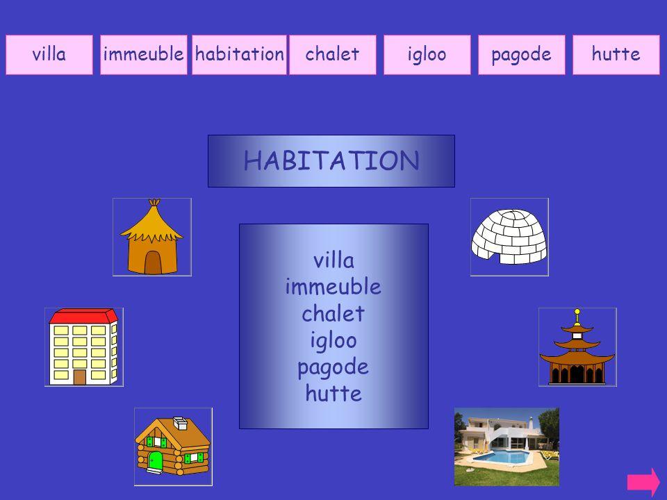 HABITATION villa immeuble chalet igloo pagode hutte villa immeuble