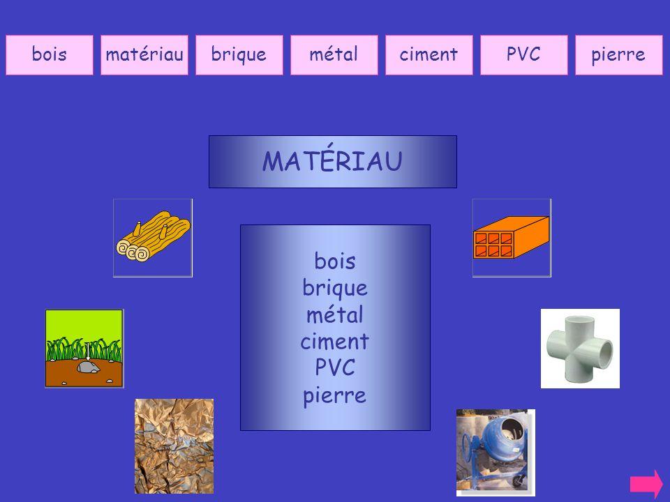 MATÉRIAU bois brique métal ciment PVC pierre bois matériau brique