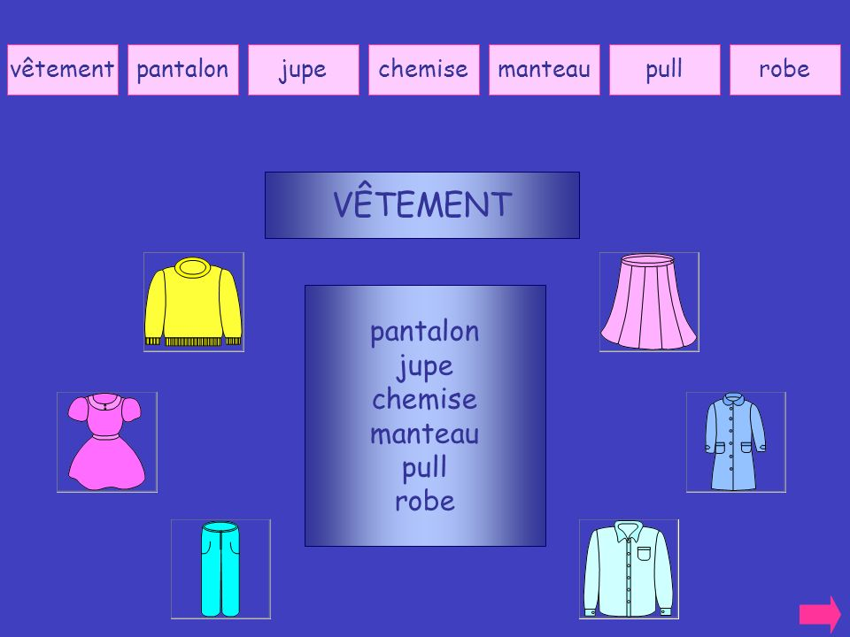VÊTEMENT pantalon jupe chemise manteau pull robe vêtement pantalon