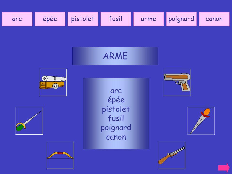 ARME arc épée pistolet fusil poignard canon arc épée pistolet fusil