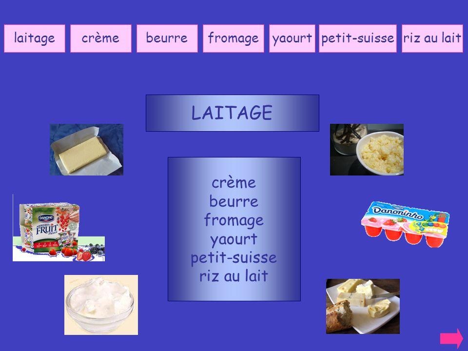 LAITAGE crème beurre fromage yaourt petit-suisse riz au lait laitage
