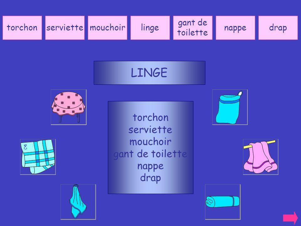 LINGE torchon serviette mouchoir gant de toilette nappe drap torchon