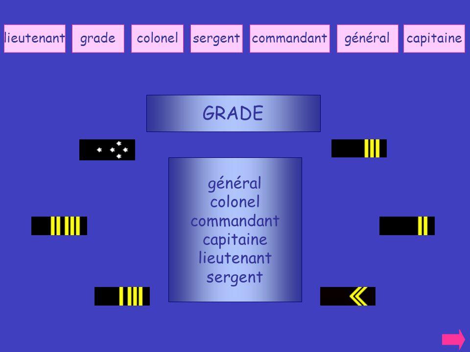 GRADE général colonel commandant capitaine lieutenant sergent