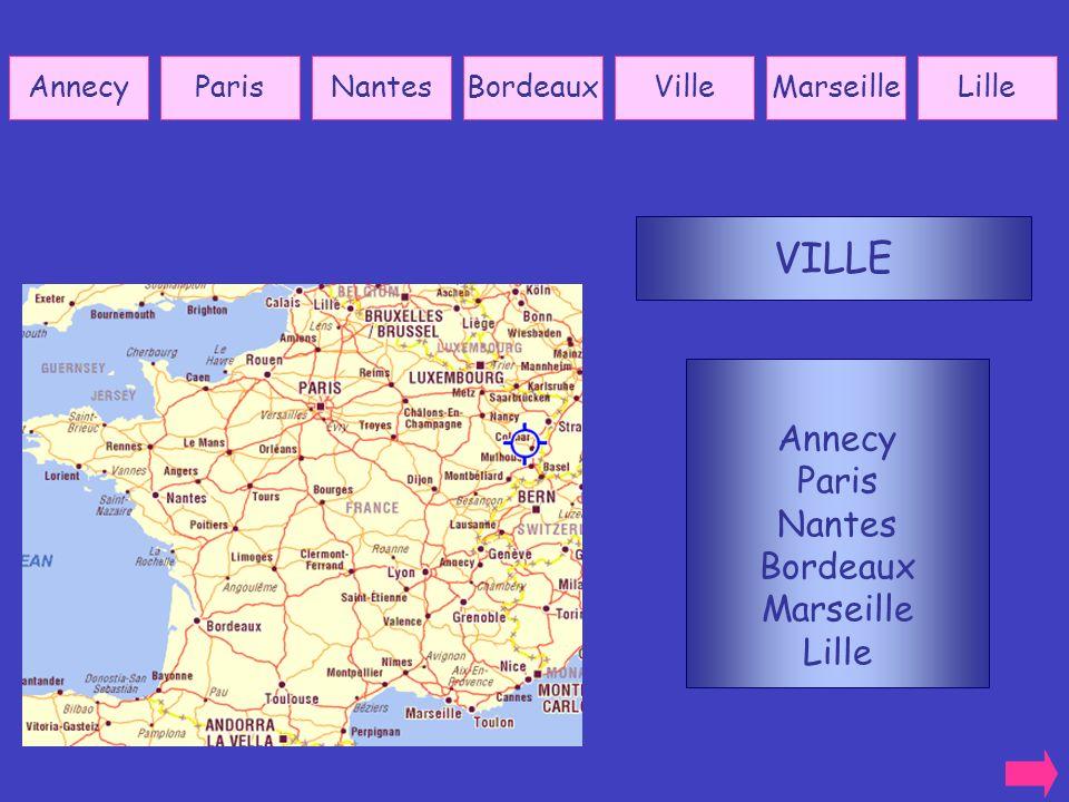 VILLE Annecy Paris Nantes Bordeaux Marseille Lille Annecy Paris Nantes