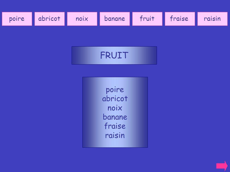 FRUIT poire abricot noix banane fraise raisin poire abricot noix