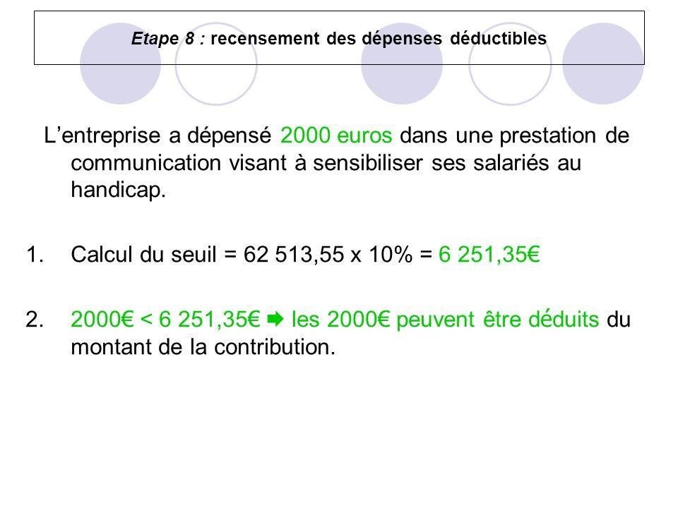 Etape 8 : recensement des dépenses déductibles