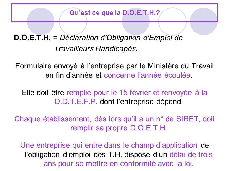 D.O.E.T.H. = Déclaration d'Obligation d'Emploi de