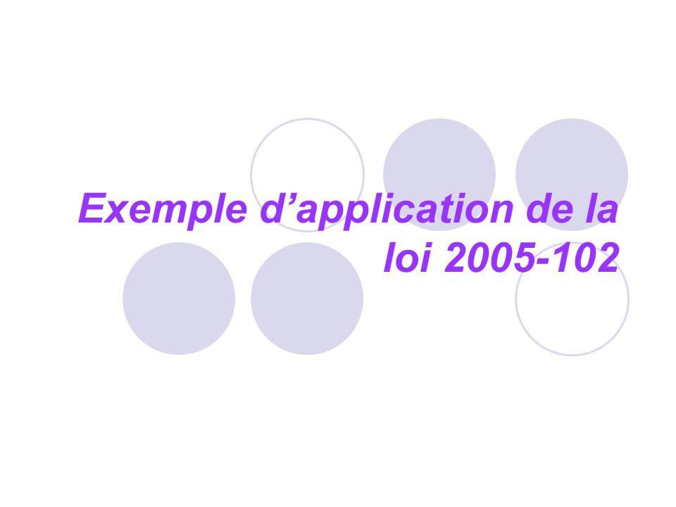 Exemple d'application de la loi 2005-102