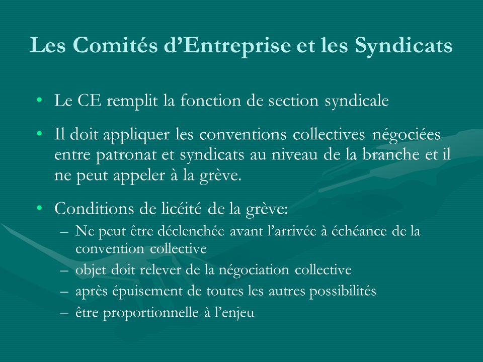 Les Comités d'Entreprise et les Syndicats