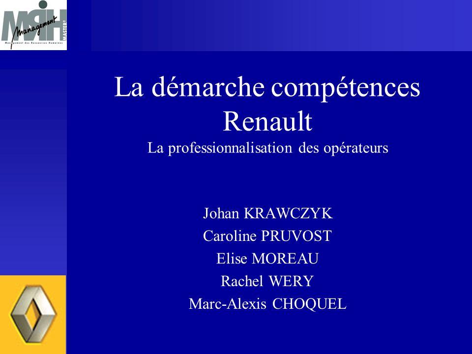 La démarche compétences Renault La professionnalisation des opérateurs