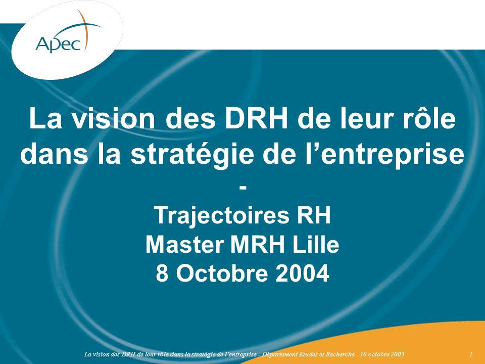 La vision des DRH de leur rôle dans la stratégie de l'entreprise - Trajectoires RH Master MRH Lille 8 Octobre 2004