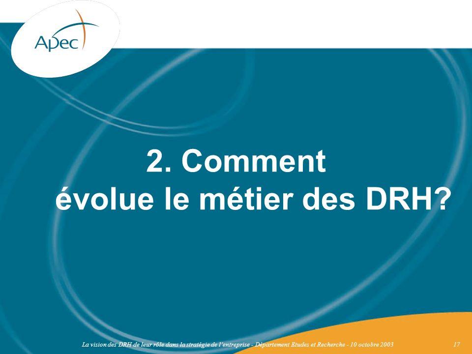2. Comment évolue le métier des DRH