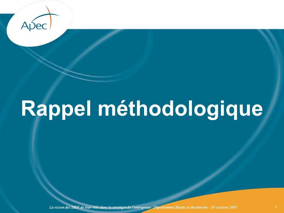 Rappel méthodologique