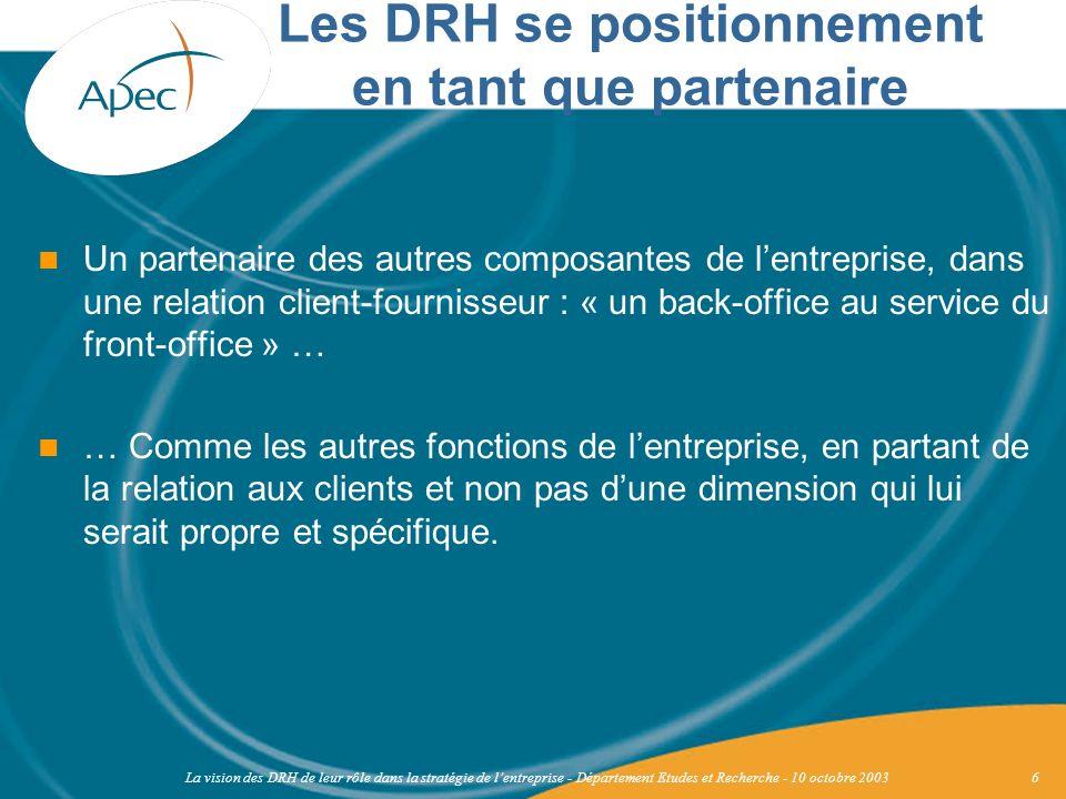 Les DRH se positionnement en tant que partenaire