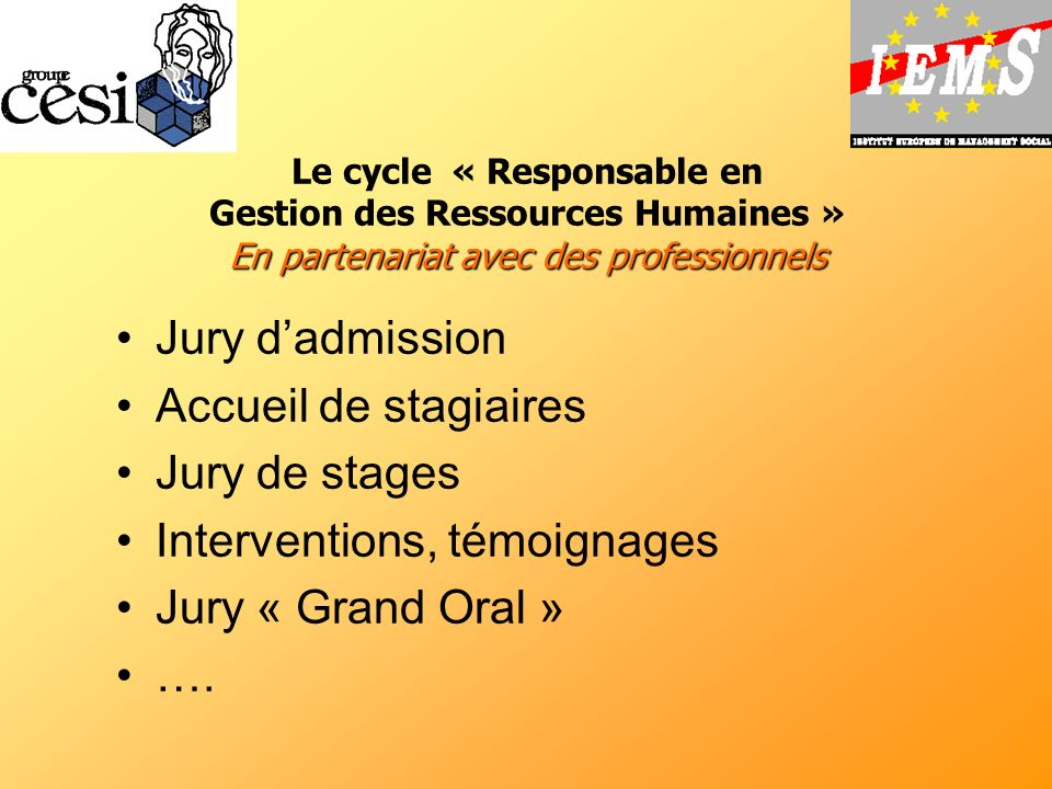 Interventions, témoignages Jury « Grand Oral » ….