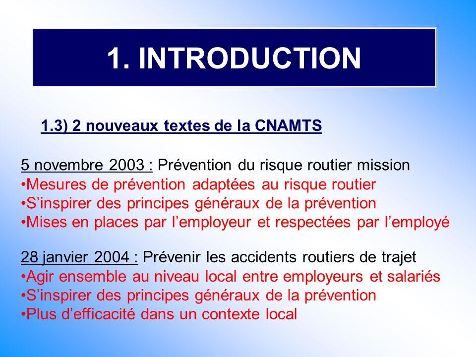 1. INTRODUCTION 1.3) 2 nouveaux textes de la CNAMTS