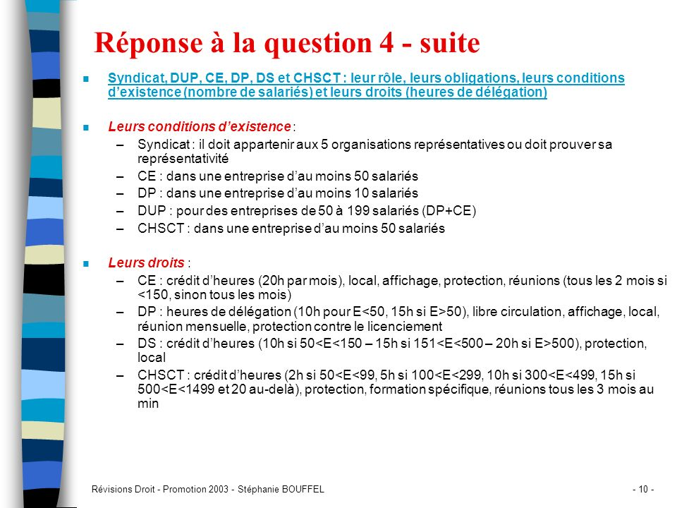Réponse à la question 4 - suite