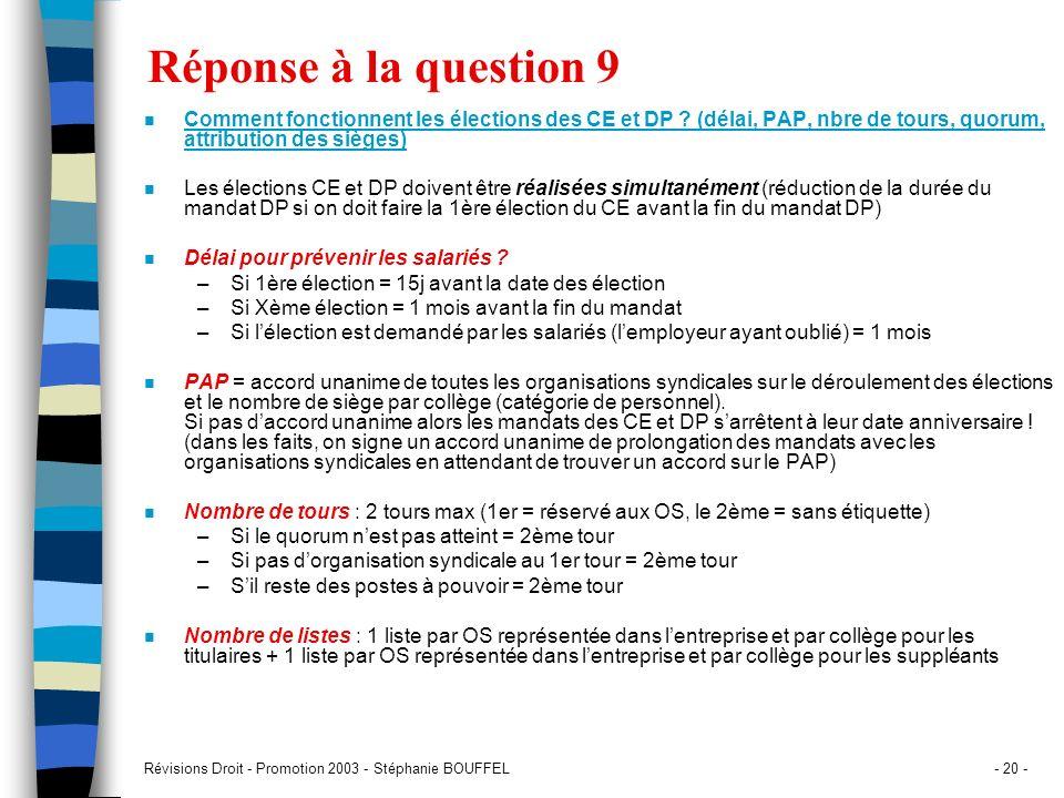 Réponse à la question 9 Comment fonctionnent les élections des CE et DP (délai, PAP, nbre de tours, quorum, attribution des sièges)