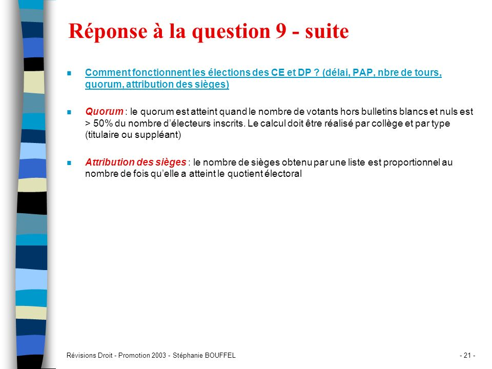 Réponse à la question 9 - suite