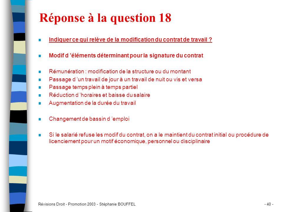 Réponse à la question 18 Indiquer ce qui relève de la modification du contrat de travail