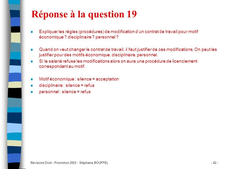 Réponse à la question 19