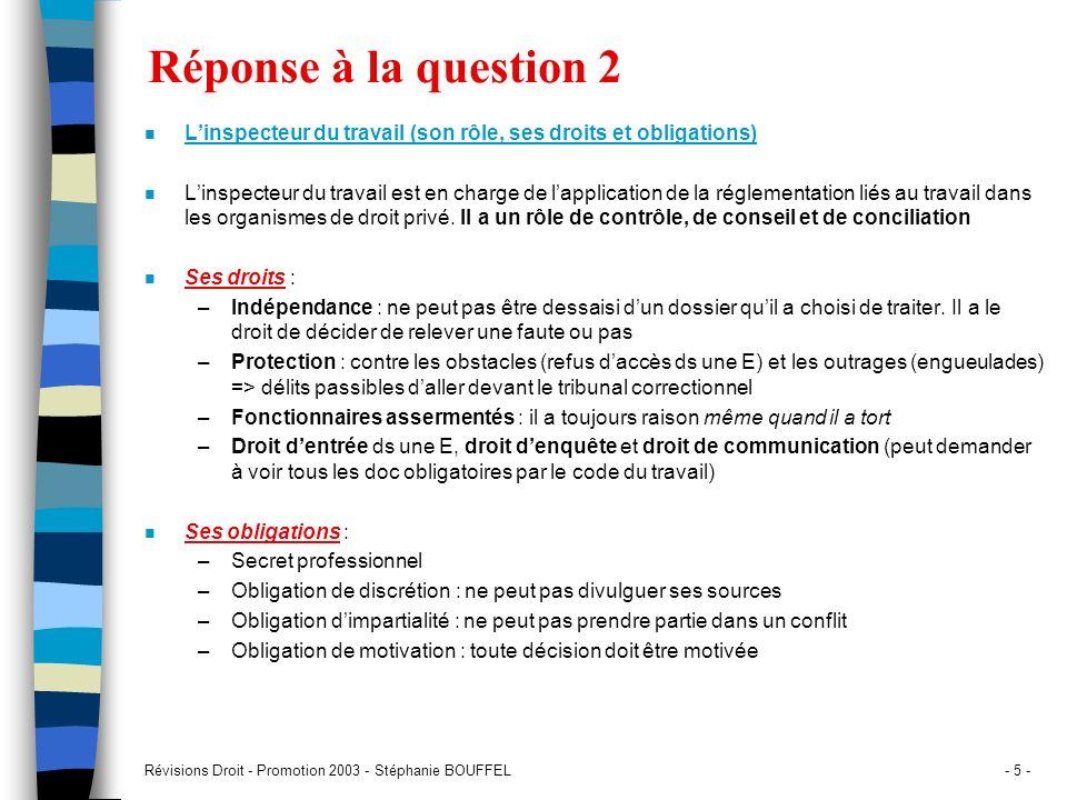 Réponse à la question 2L'inspecteur du travail (son rôle, ses droits et obligations)