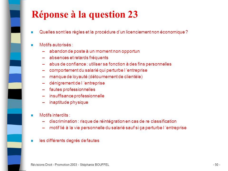 Réponse à la question 23 Quelles sont les règles et la procédure d'un licenciement non économique