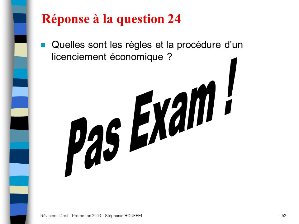 Pas Exam ! Réponse à la question 24