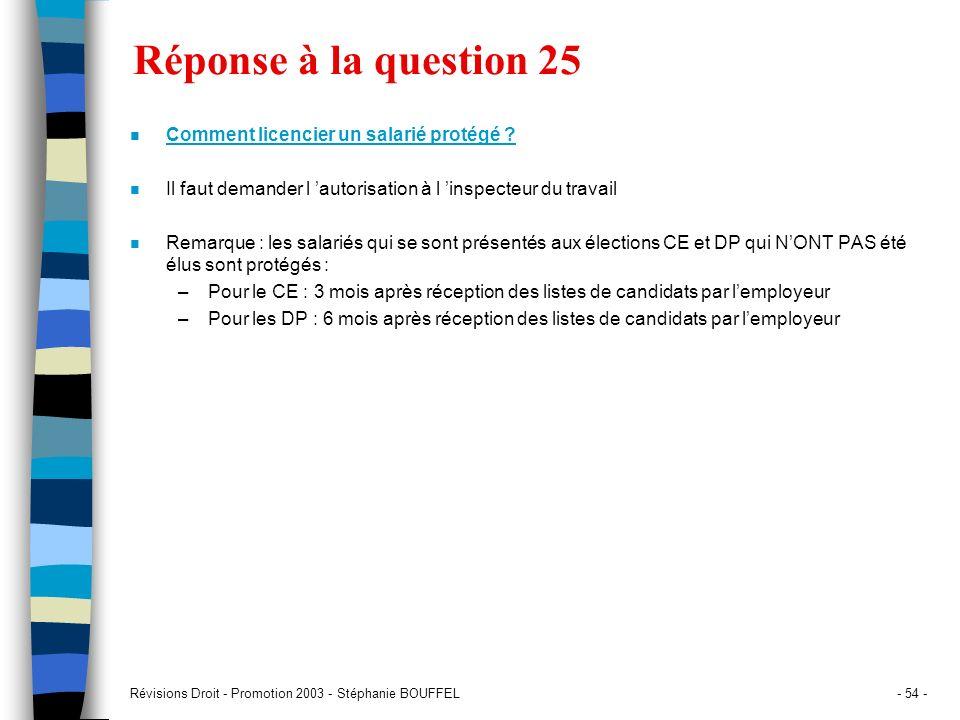 Réponse à la question 25 Comment licencier un salarié protégé