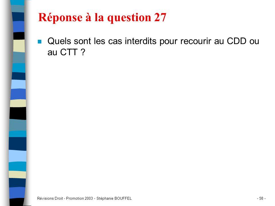 Réponse à la question 27 Quels sont les cas interdits pour recourir au CDD ou au CTT .