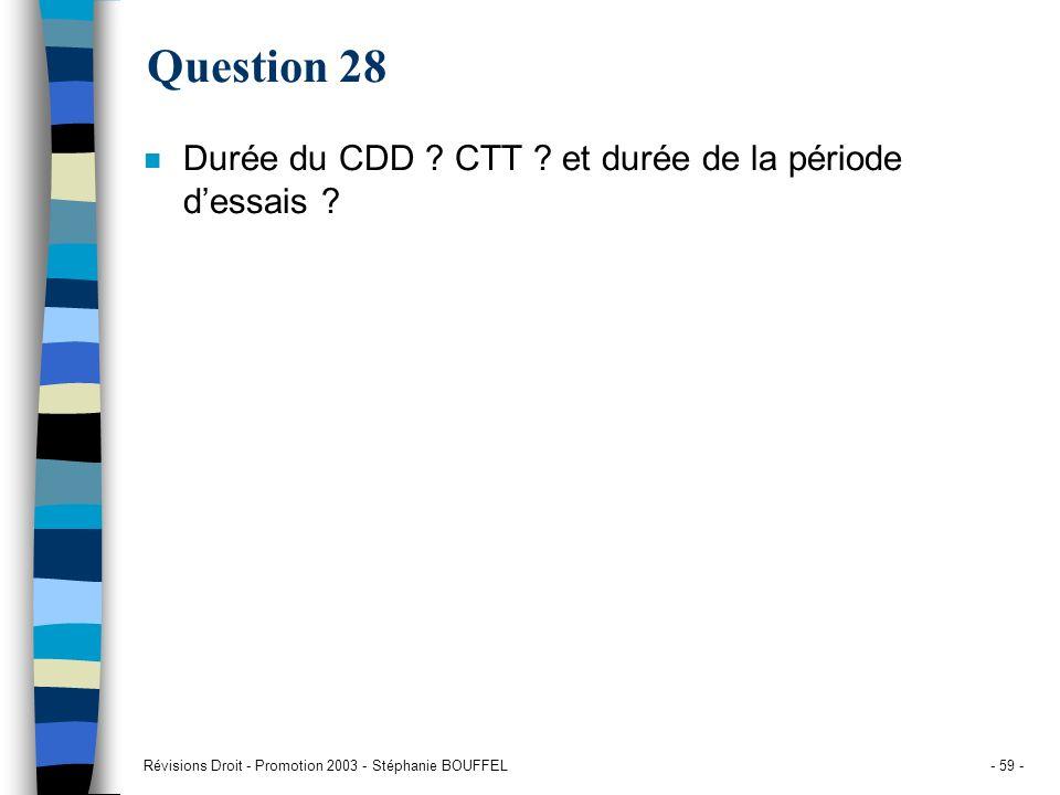 Question 28 Durée du CDD CTT et durée de la période d'essais