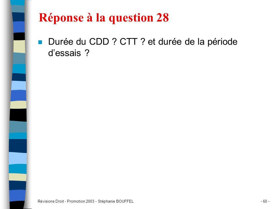 Réponse à la question 28Durée du CDD .CTT . et durée de la période d'essais .