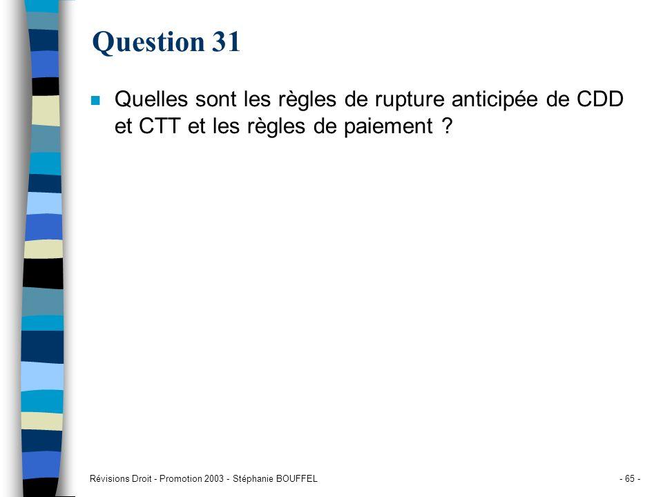 Question 31 Quelles sont les règles de rupture anticipée de CDD et CTT et les règles de paiement