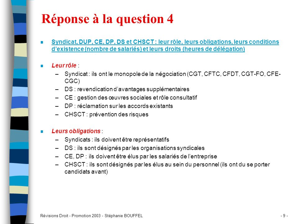 Réponse à la question 4