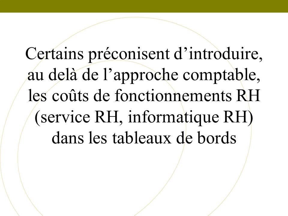 Certains préconisent d'introduire, au delà de l'approche comptable, les coûts de fonctionnements RH (service RH, informatique RH) dans les tableaux de bords
