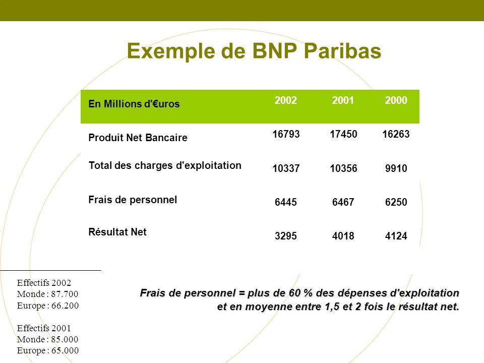 Exemple de BNP Paribas En Millions d €uros. 2002. 2001. 2000. Produit Net Bancaire. 16793. 17450.