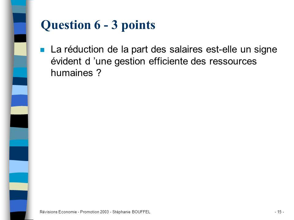 Question 6 - 3 points La réduction de la part des salaires est-elle un signe évident d 'une gestion efficiente des ressources humaines