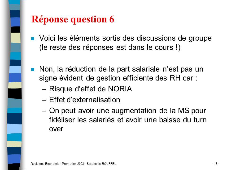 Réponse question 6 Voici les éléments sortis des discussions de groupe (le reste des réponses est dans le cours !)
